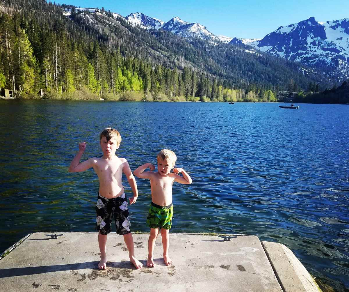 kids swimming at June Lake